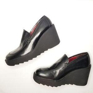 Donald J. Pliner Leather Wedge Platform Loafers